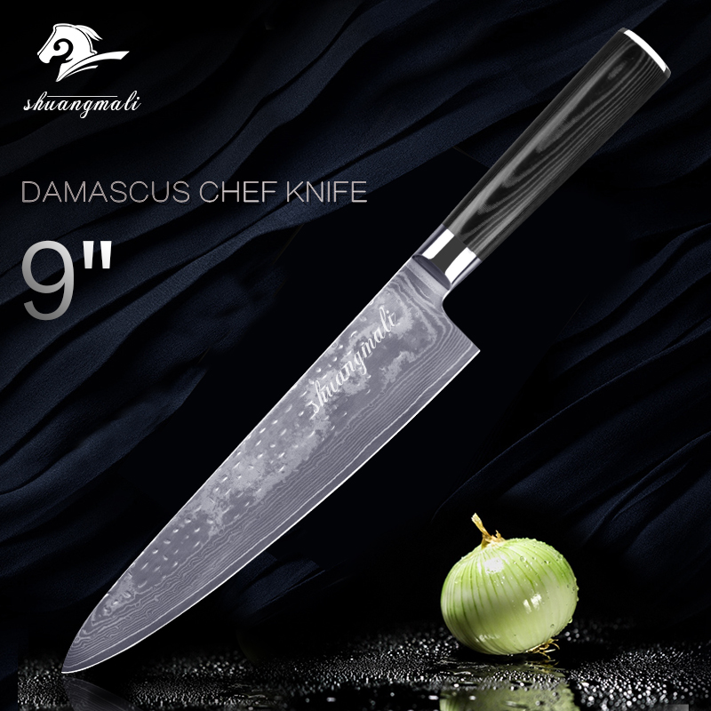 9 Inch Damascus Steel Kitchen Knife VG10 Japanese Chef Knives Meat Veg Beef Slicing Cleaver Forged Hammer Pattern Micarta Handle