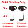 Silent Disco compete system black led wireless headphones - Quiet Clubbing Party Bundle (5 Headphones + 3 Transmitters)