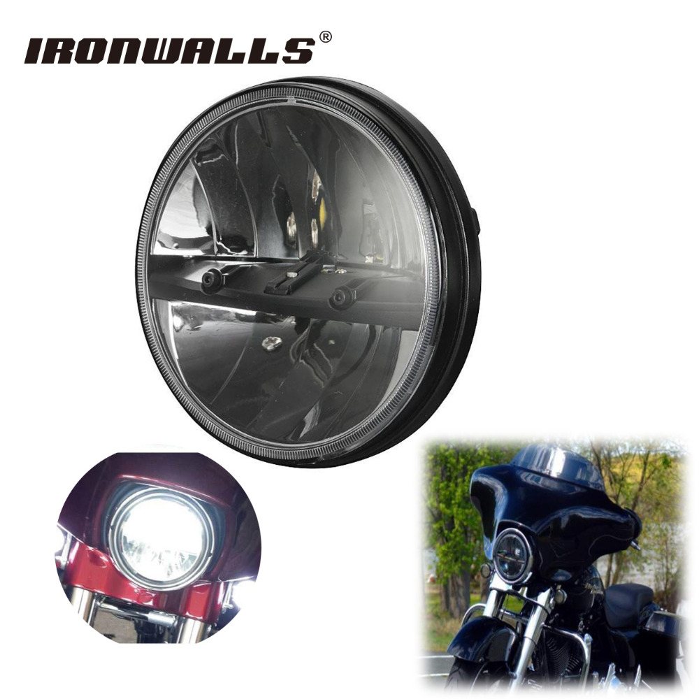 ironwalls 7 phase motorcycle led headlight lamp cree chips round daymaker for harley davidson. Black Bedroom Furniture Sets. Home Design Ideas