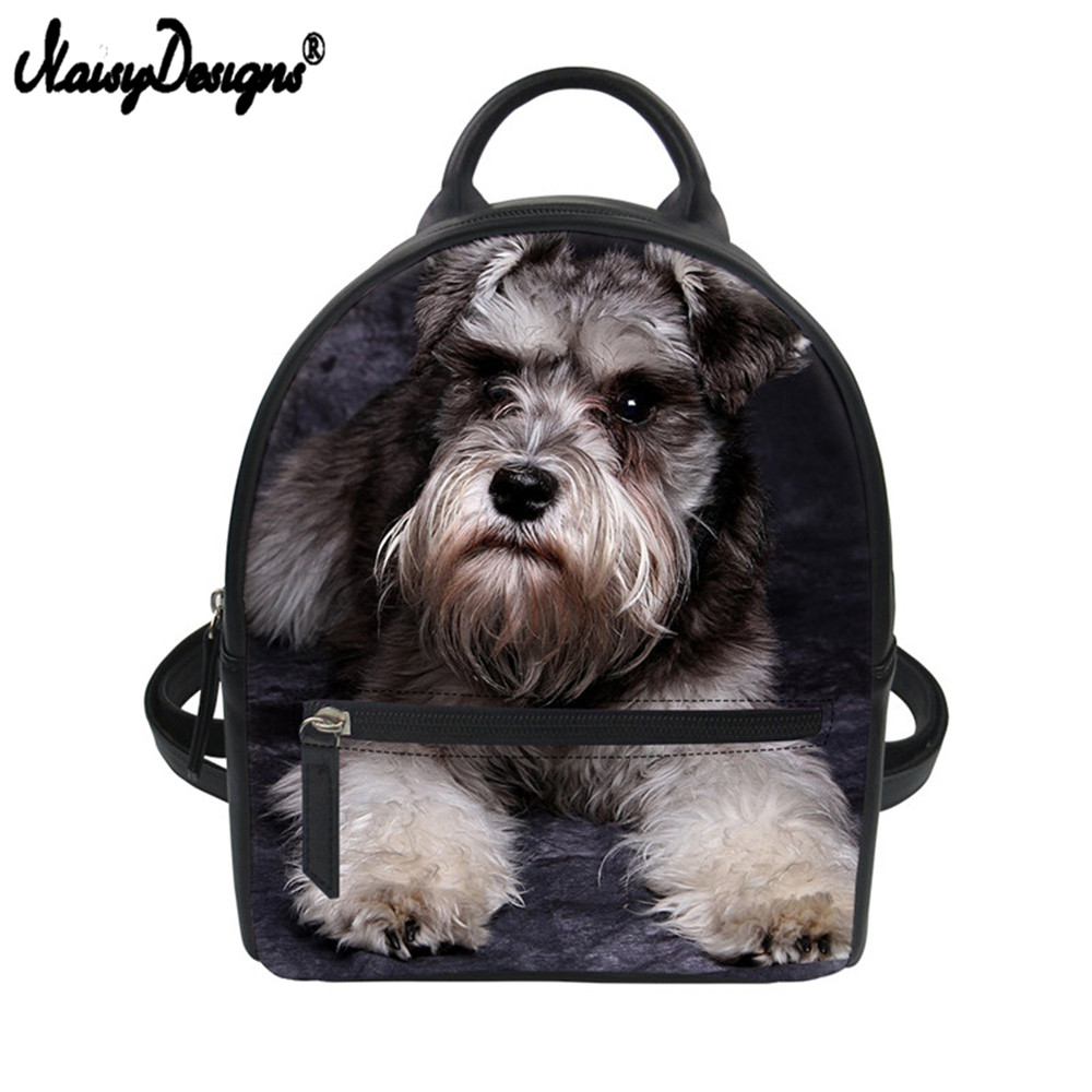 Noisydesigns Girls Mini Black Backpack Schnauzer Shih Tzu Husky Dog Printed Pug Small Pu Leather Shoulder Bag Women Travel Bag