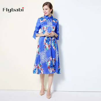 high quality Draped dress Flower print Three Quarter sleeve Turn-down Collar Sashes Mid-Calf Pleated Autumn summer new dress