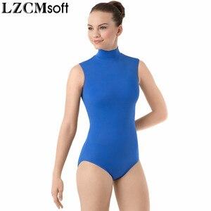 Image 3 - LZCMsoft 여성 스판덱스 블랙 민소매 댄스 레오타드 성인 나일론 하이 넥 체조 성능 레오타드 스테이지 바디 수트