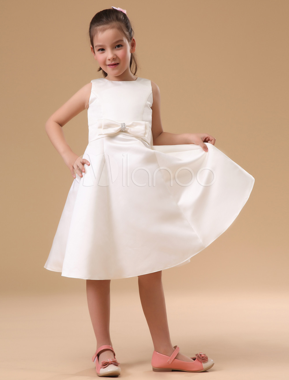 A Line Flower Girls Dresses For Wedding Gowns White Mother Daughter