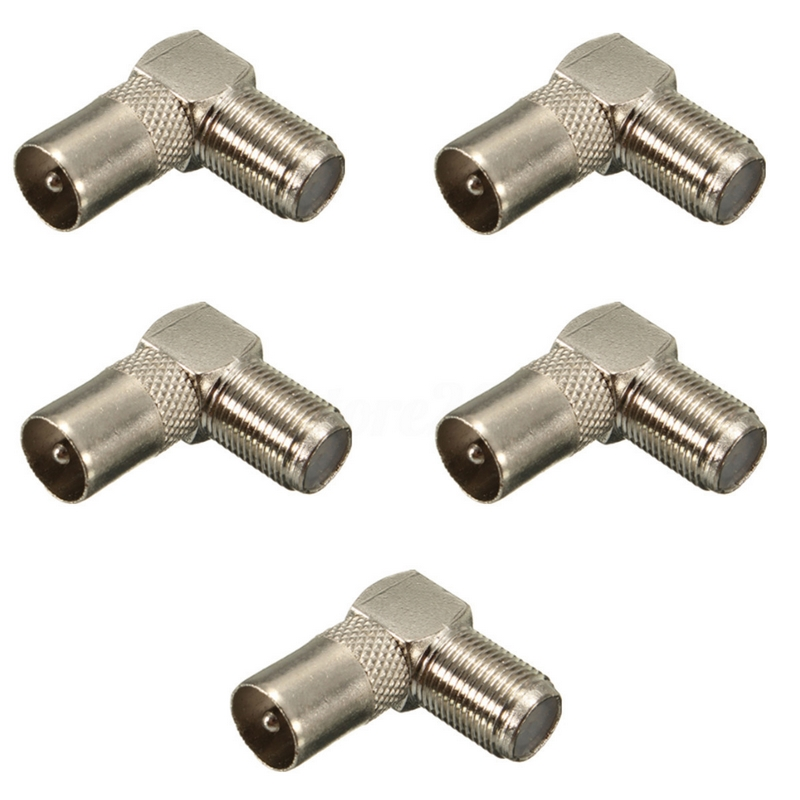 5pcs Right Angle 90 Drgree Connectors Cable F Female To Male Connector Adapter For TV Antenna