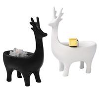 Creative Nordic Porch Ornament Adorn Deer Storage Decoration Porch Figurine Key Phone Storage Box Deer Figurines Home Decoration