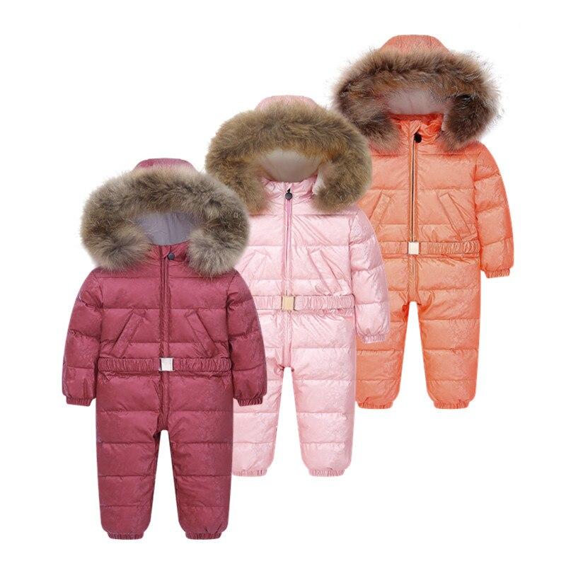 -35 Degree Russian Winter Coats Children's Clothing Winter Overalls For Children Jumpsuit Down + Fleece Thicken Water Proof Boys