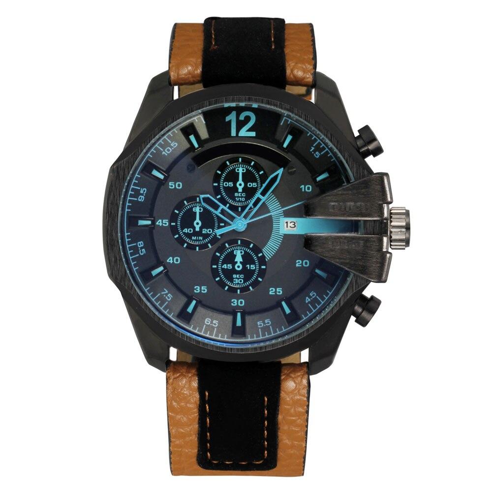 Prix pour Mode MEURT Hommes de Grand style du Cadran bracelet En Cuir Date Calendrier quartz montre-bracelet D031