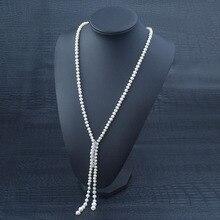 Señora Elegante Collar de Perlas de Agua Dulce con el Chapado En Oro AAA Circón Hebilla de Largo Collar de Cadena de Cuerda
