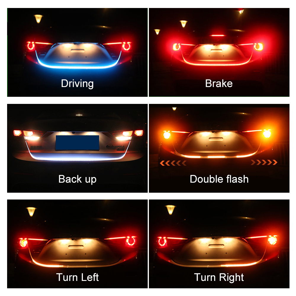 Car LED Strip Turn Signal Yellow Brake Light Red Trunk Tail Light Ice Blue DRL Daytime Running Light FLexible Warning Light 2pcs 30cm drl 12v 3colors white blue red flexible soft tears strip daytime running light with yellow turning signal light