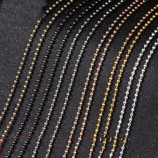 10 Meters Width 1.5mm 2mm 2.4mm Gold Silver Color Ball Chain Round Ball Beads Chains For Necklace Bracelet Jewelry Accessories