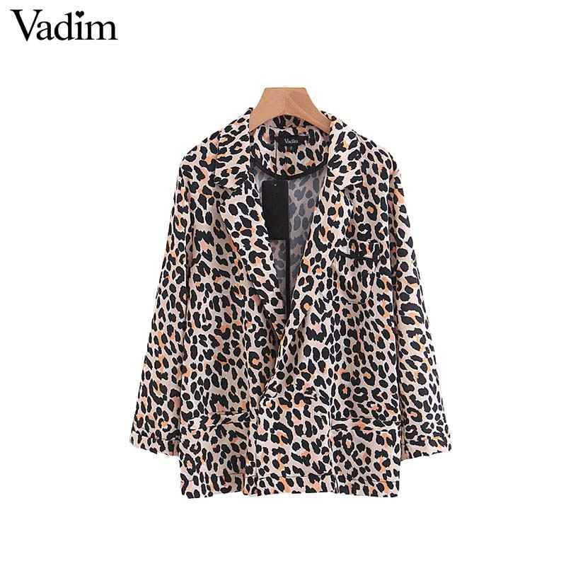 Vadim vintage leopard print blazer pockets Notched collar long sleeve coat female outerwear fashion casaco feminine tops CA037
