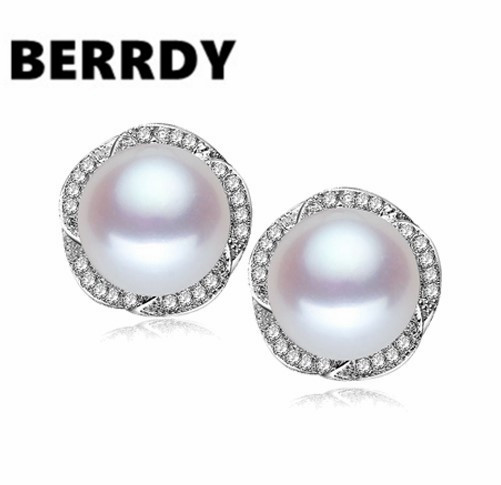 4 Color Real Freshwater Pearl Earrings Stud Fashion Shining Beautiful S Female Lady Jewelry Nice Gift In From