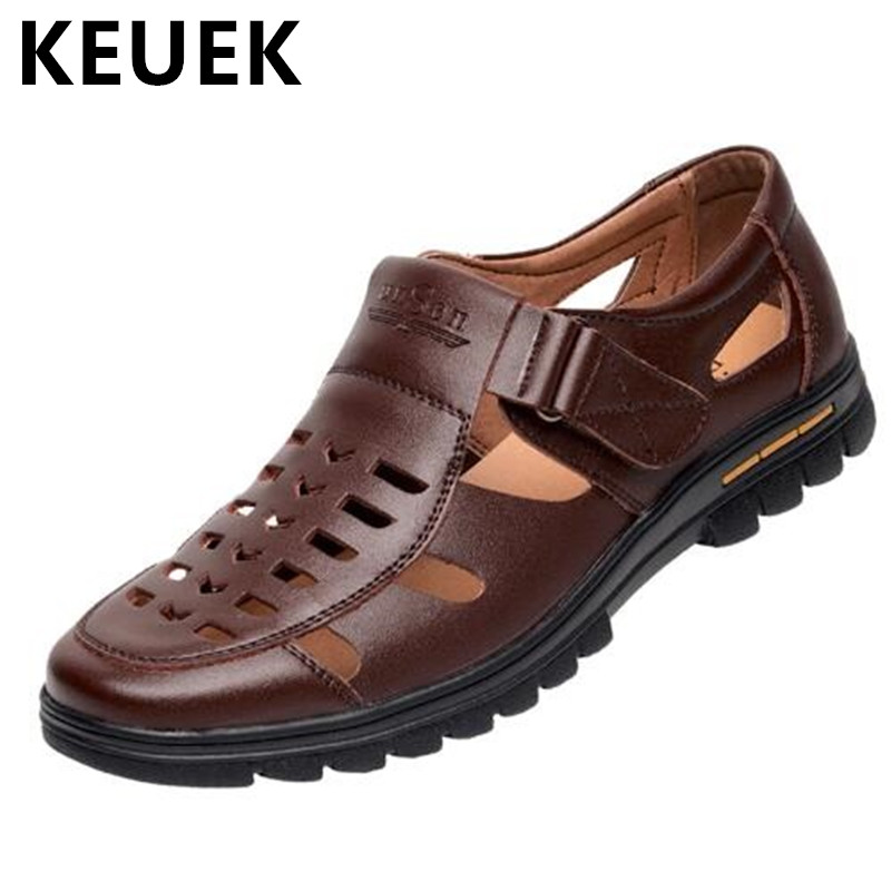 Classics Gladiator Men Sandals Casual Breathable Cut Outs Summer Male Shoes Hook Loop Genuine leather Flats