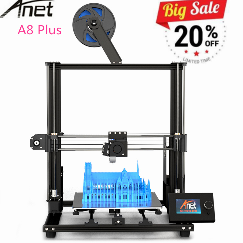 2019 Anet A8 Plus version Améliorée bricolage 3D Imprimante Haute Précision bureau en métal Impresora 3D Imprimante 300x300x350mm PK Anet A8