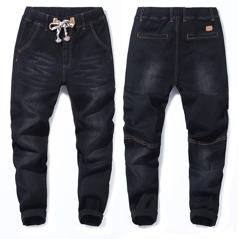 2018 סתיו חדש של גברים בתוספת גודל ג ינס אופנה מזדמן היפ הופ רופף שחור כחול מכנסיים הרמון מכנסיים 5XL 6XL 7XL-בגינס מתוך ביגוד לגברים באתר