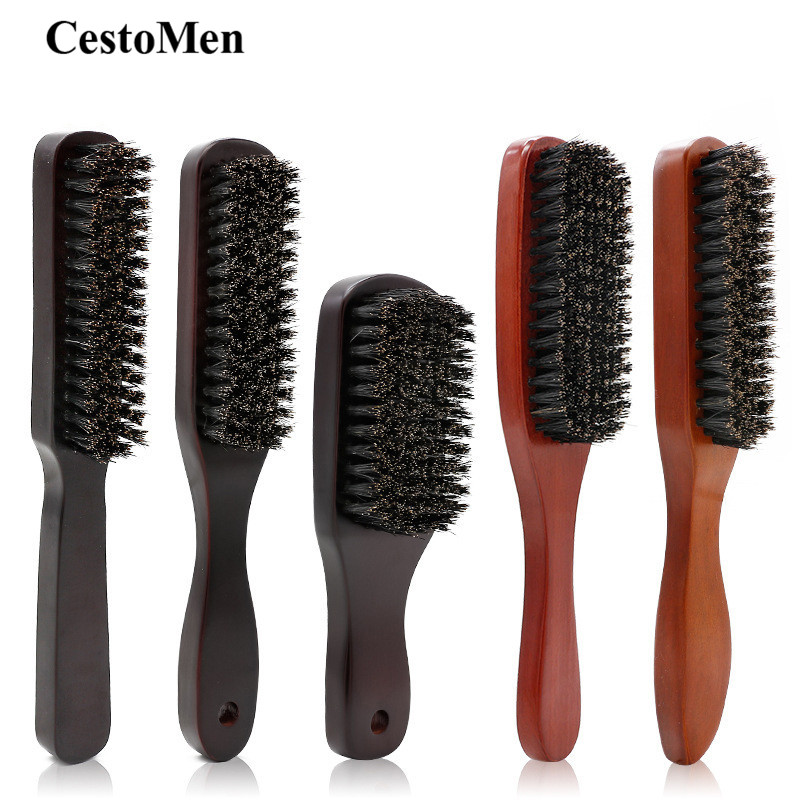 CestoMen Solid Wood 100% Boar Shaving Brush Beard Massage Black Boar Bristle Hair Brush Curved Wooden Men Beard Mustache Brushes