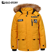 цены GLO-STORY Fashion Boy Winter Jackets with Fur Hooded Letter Pocket Solid Thick Kid's Parkas Winter Coats 92-128CM BMA-9420