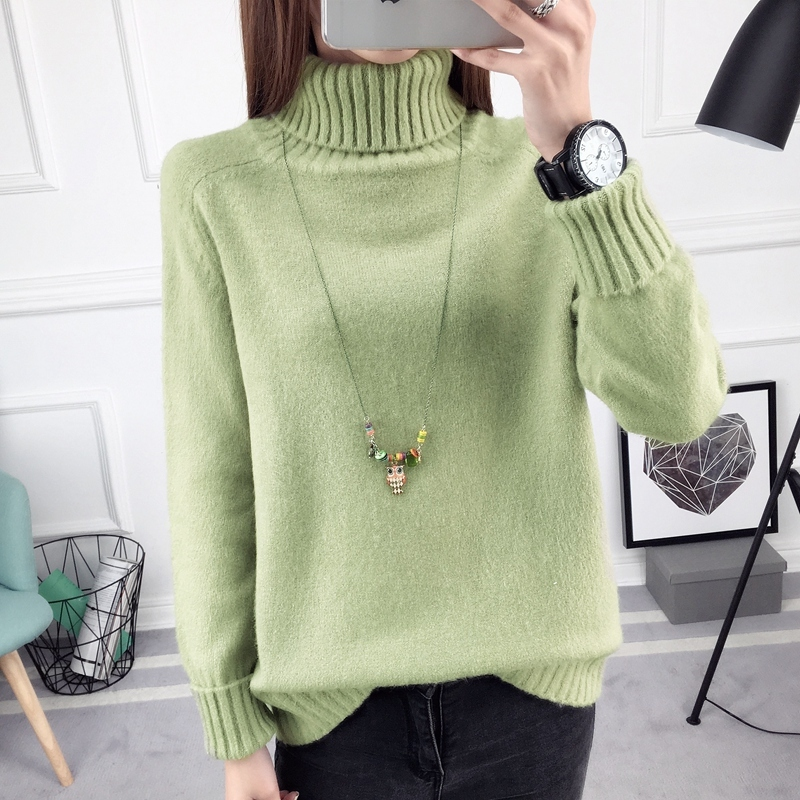 2017 Autumn Winter Turtleneck Sweater New Design Thick Tricot Women Sweaters And Pullovers Female Jumpe knitted tops