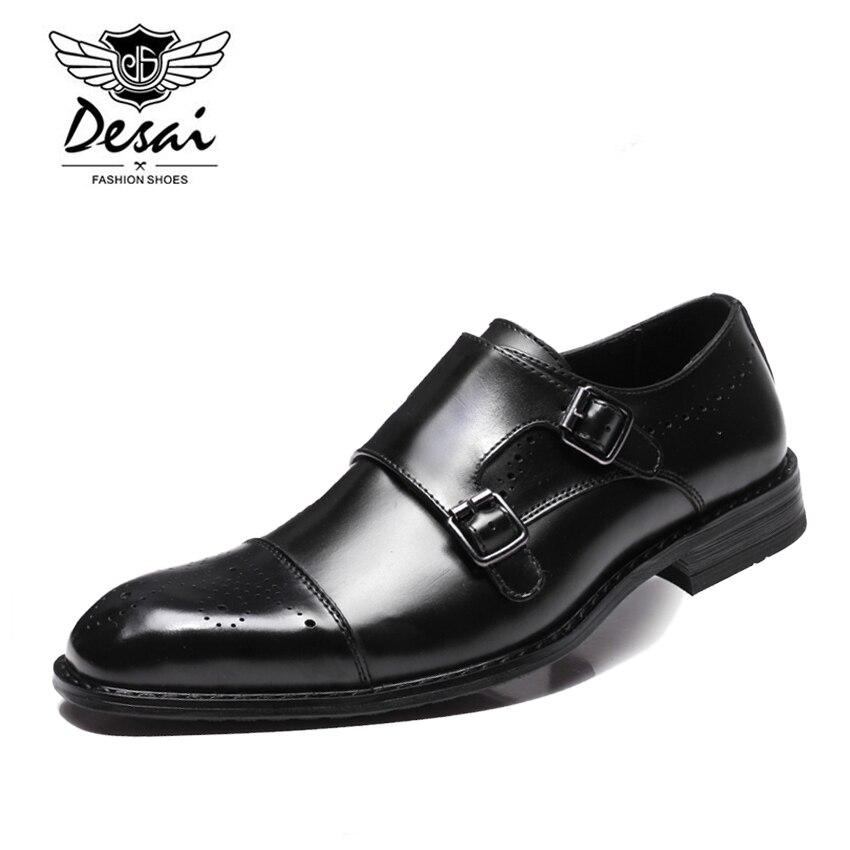 DESAI Neue Männer der Britischen Business Kleid Schuhe Aus Echtem Leder Formale Brogue Schuhe Männer Mönche Schuhe Doppel Schnalle Oxfords Schwarz-in Formelle Schuhe aus Schuhe bei  Gruppe 2