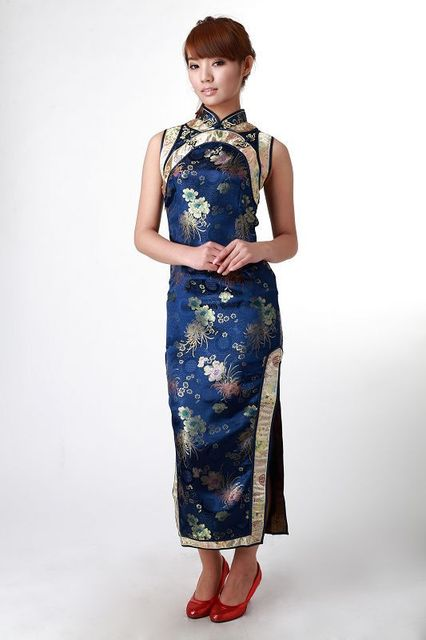 Fashion Blue Chinese Formal Evening Gown Dress Female Satin Polyester Cheongsam Sexy Long Qipao Size S M L XL XXL WC144