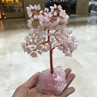Crystal natural rose quartz gemMoney Tree Feng Shui Wealth Home Decor Miniature Figurines Party Gift Crystal Money Tree