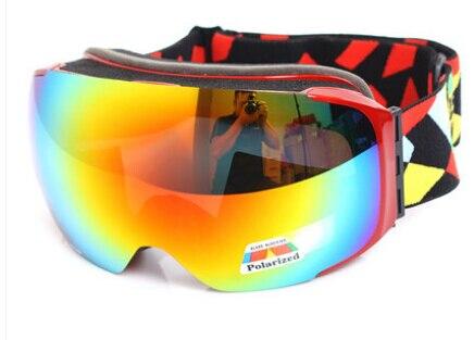 ФОТО POLISI Men Women Snowboard Snowmobile Goggles Skiing Skate Snow Glasses Polarized Replaceable 2 Lenses Anti-Fog Lens Eyewear