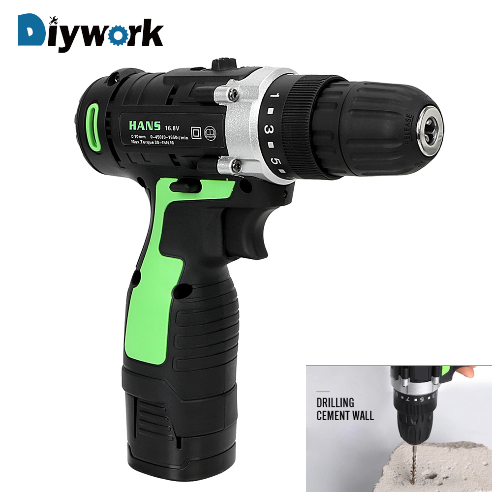 цена на DIYWORK Electric Drill Electric Screwdriver Lithium Battery Charging Double Speed Power Tools 16.8V Perforator
