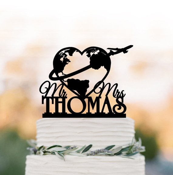Travel themed custom Wedding cake topper with mr and mrs, world map cake topper, airplane personalized cake topper map silhouett image