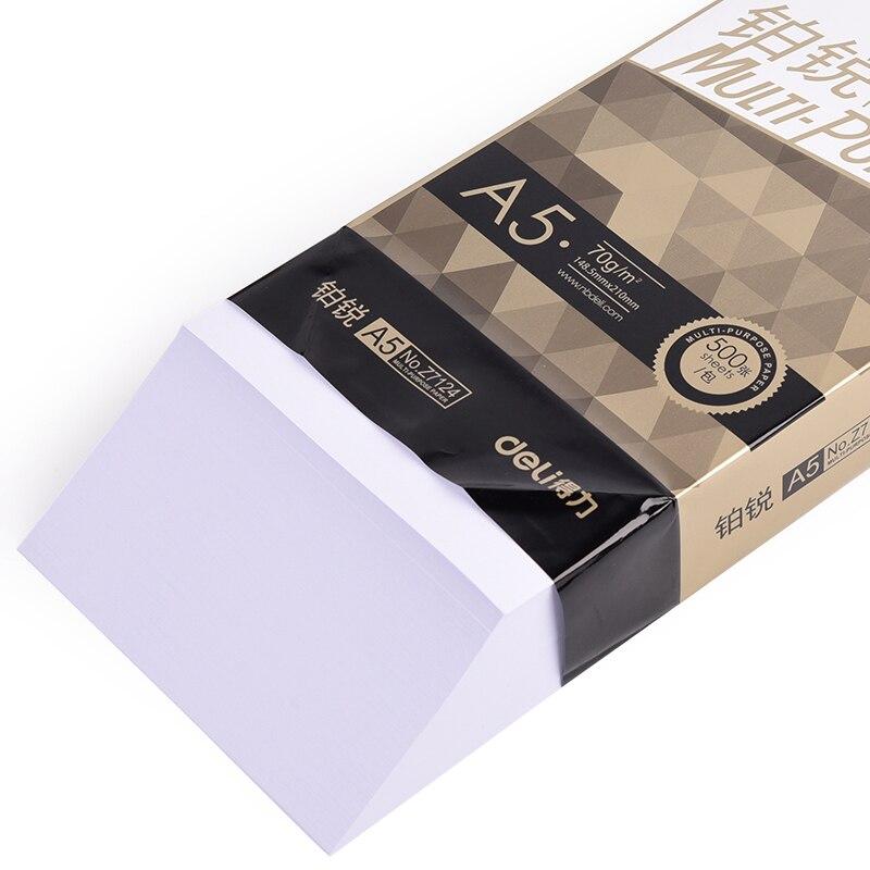DELI A5 PAPIER DO KOPIOWANIA drukowanie w biurze dostaw Student papier testowy kopiowania druku A5 70g 500 arkuszy papier do drukarki szkolne materiały biurowe w Papier do drukarki od Artykuły biurowe i szkolne na  Grupa 3