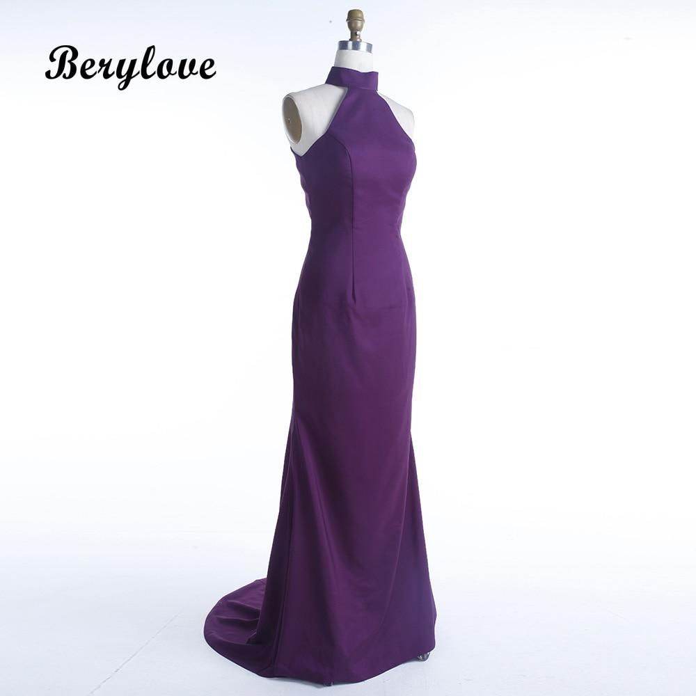 BeryLove Long Mermaid Purple Evening Dresses 2018 High Neck Open ...