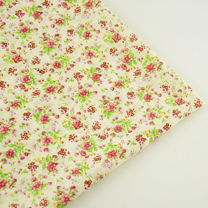 Amarillo claro tela de algodón pre-cut fat quarter flores rojas y hojas diseños