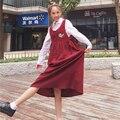 Корейский Опрятный Женщины Без Рукавов Красный Dress Вельвет Общая Вышивка Цветочные Свободные Длинные Сарафан Винтаж Украина Женский Vestidos