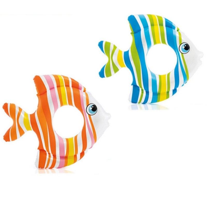 Summer Baby Fish Type Chromatic Stripe Inflatable Rings Lake Pool for Swimming Rings Inflatable Life Buoy Children Toy