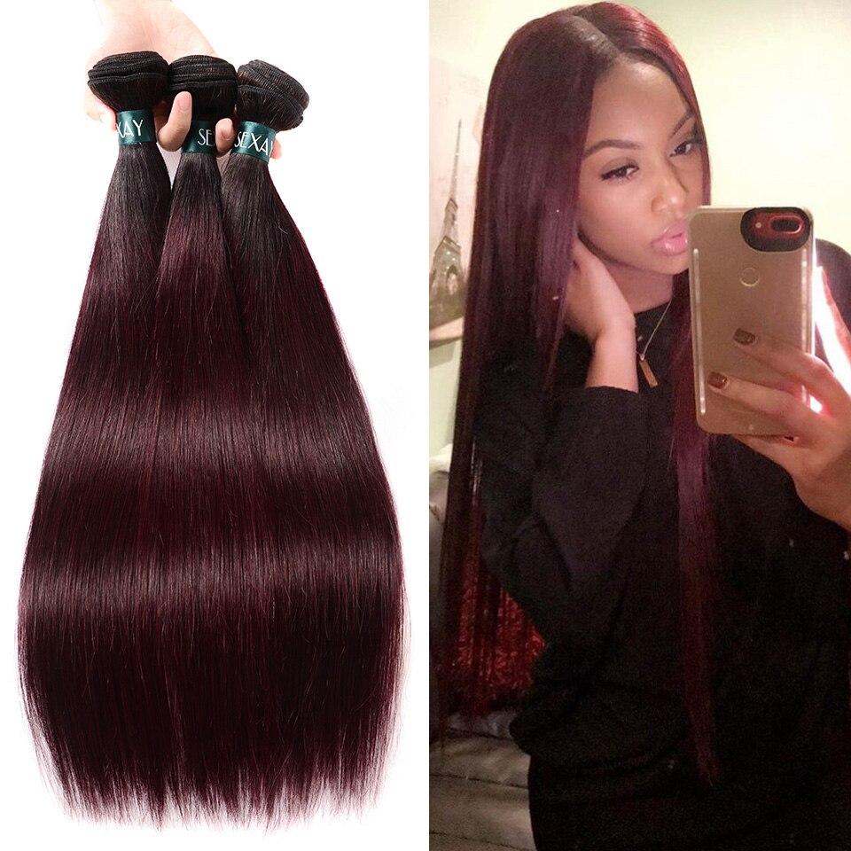 Extensiones de cabello humano brasileño liso Sexay Ombre 3/4 Uds lote 1B 99J pelo brasileño Borgoña tejido vino tinto cabello Remy precoloreado