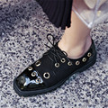 Plus Size 34-45 Fashion Mid Heel Platform Shoes Women Round Toe PU Leather Shoes Square Heel Casual Shoes Lady cut-outs Brogue
