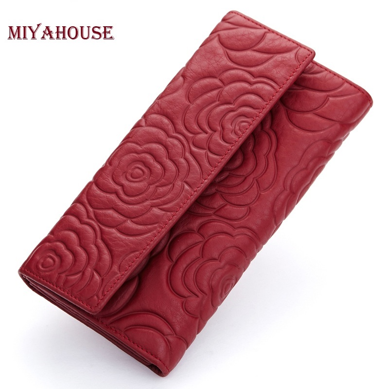 High Quality Floral Wallet Women Long Design Lady Hasp Clutch Wallet Genuine Leather Female Card Holder Wallets Coin Purse zolala women wallets brand design high quality genuine leather wallet female hasp fashion dollar price long purse card holder
