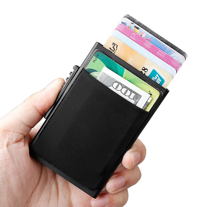 online store f7380 d757f US $7.98 45% OFF|Metal Credit Card Case Casual Front Pocket Cards Holder  Rfid Blocking Safe Bank Card Cover Black Coin Purse-in Card & ID Holders  from ...