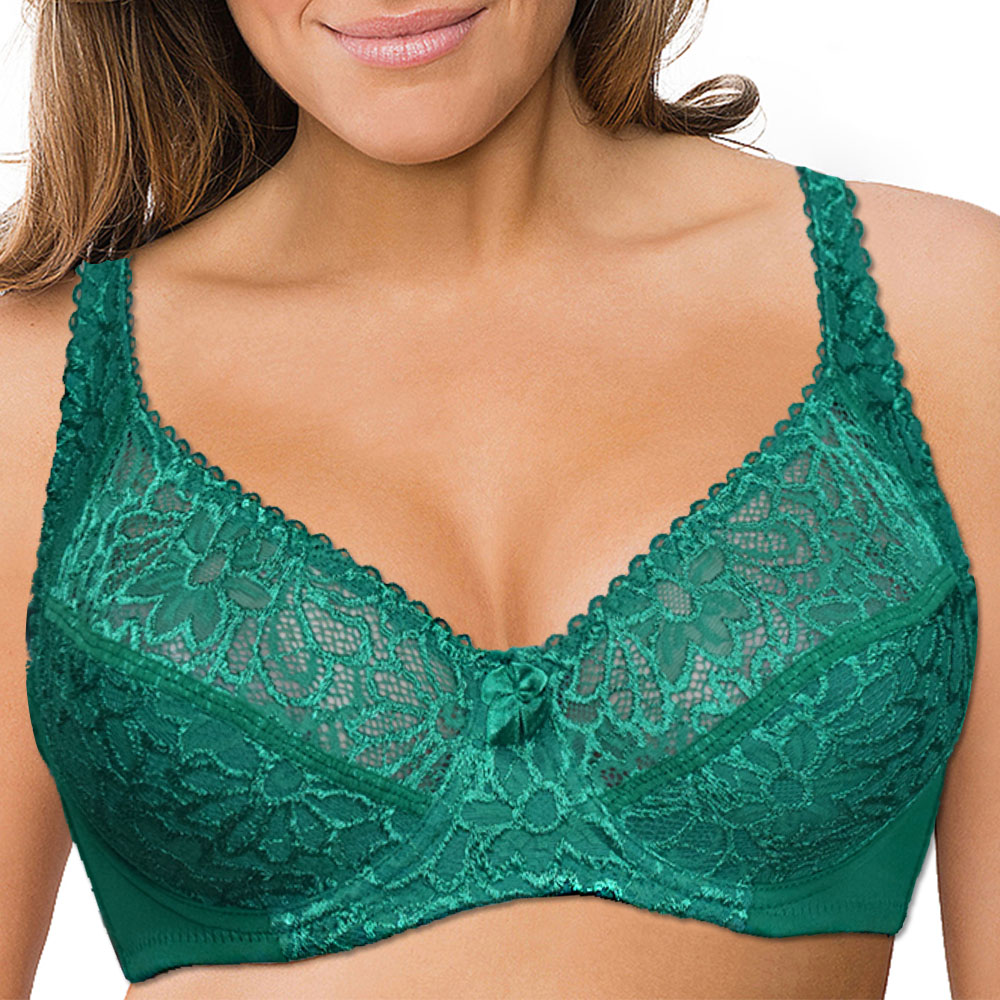 Plus Size Womens Lace Bra Lager Bosom See through Bralette Underwired Sexy Lingerie 34 36 38 40 42 44 B C D DD E F Cup 1