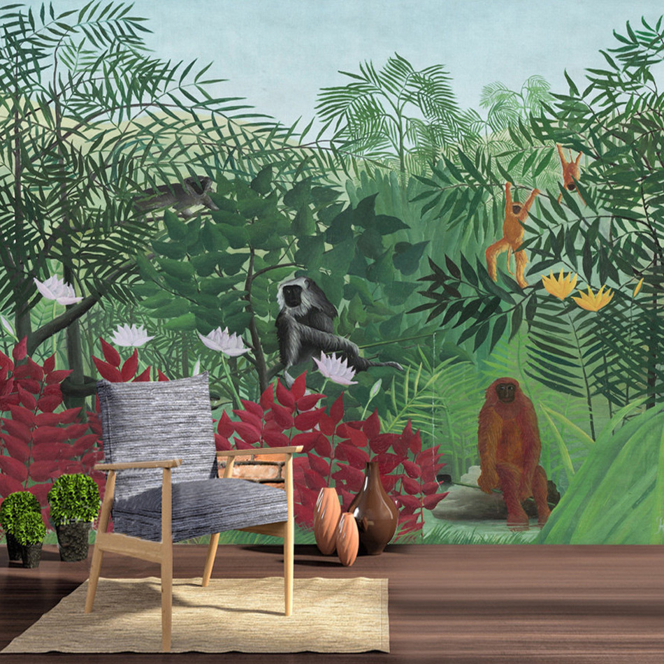 Custom Wallpaper Murals Southeast Asia Style Tropical Rainforest Background Wall Mural Wallpaper Living Room Sofa Bedroom Decor  free shipping southeast asian style elephant mural background wall thickened wear high quality living room bedroom wallpaper