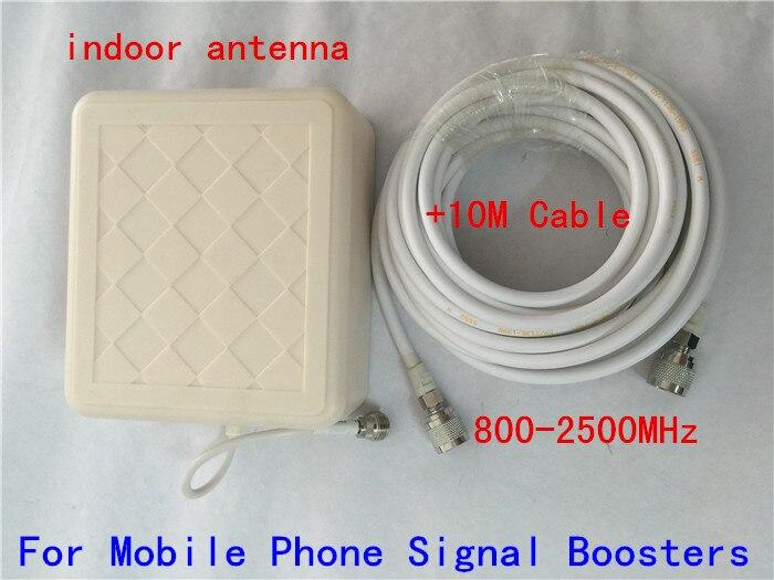 800-2500 мГц широкий частотный gsm 3G направленного открытый Панель Телевизионные антенны + 10 м кабеля N мужской разъем для сотовый телефон усилит…
