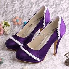 Марка 10 СМ Пятки с Платформы Свадебная Обувь Свадебные Фиолетовый Круглый Носок