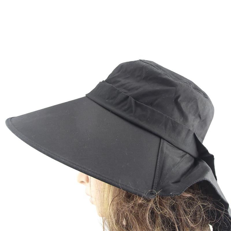 MINAKOLIFE Women Summer Flap Cover Cap Cotton UPF 50+ Sun Shade Hat with Neck Cord