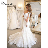robe de mariee Mermaid Wedding Dress 2019 V Neck Backless White Long Sleeve Bride Dress Lace Wedding Gown