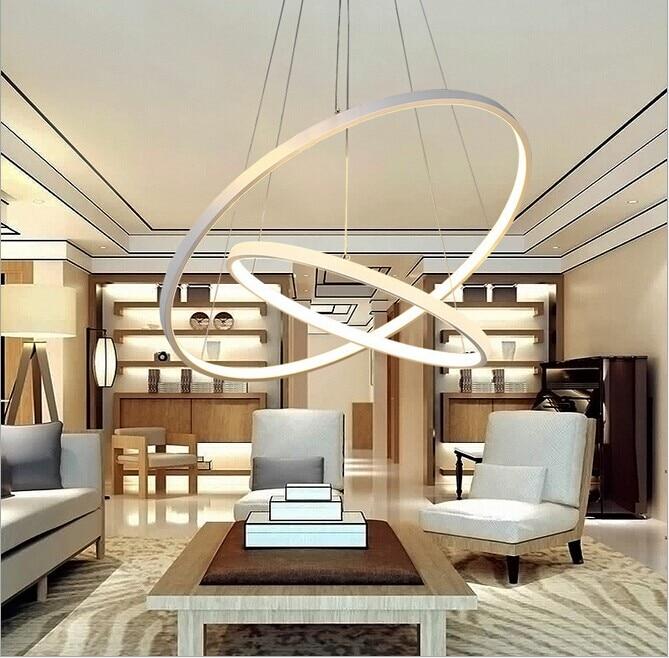 ᗚLuces colgantes modernas para sala comedor 3/2 círculo Anillos ...