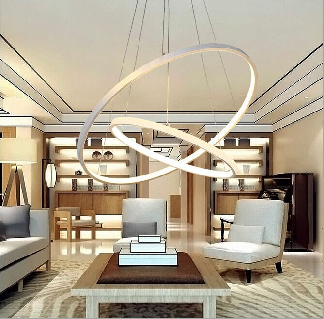 Modern pendant lights for living room dining room 3/2 Circle Rings acrylic aluminum body LED Lighting ceiling Lamp fixtures a1 master bedroom living room lamp crystal pendant lights dining room lamp european style dual use fashion pendant lamps