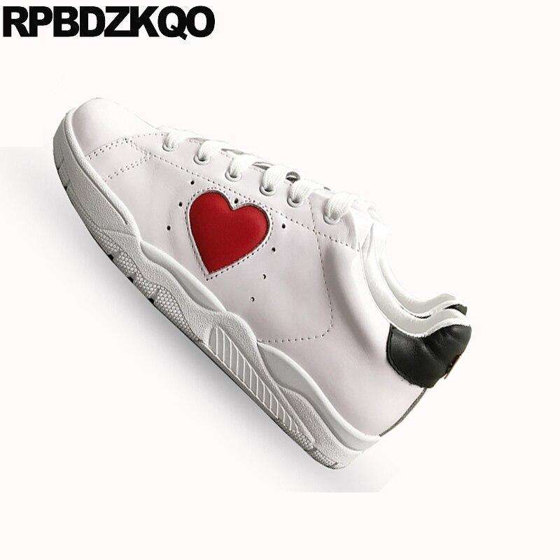 Blanc en cuir véritable coeur paillettes appartements décontracté femmes chaussures de luxe à lacets de haute qualité cils chaussures de sport à paillettes italiennes - 3