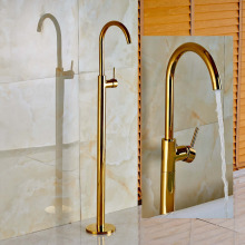 Free Standing Waterfall Golden Tub Faucet Single Handle Hot Cold Mixer Tap New