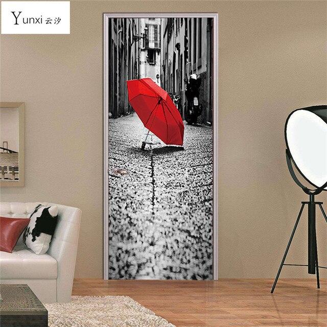 Yunxi 2017 New 3d Door Sticky Rainy Day Street Red Umbrella Sticker