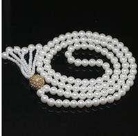 Women Gift Freshwater Original design white 8mm round shell simulated pearl necklace gold color accessory tassel pendant