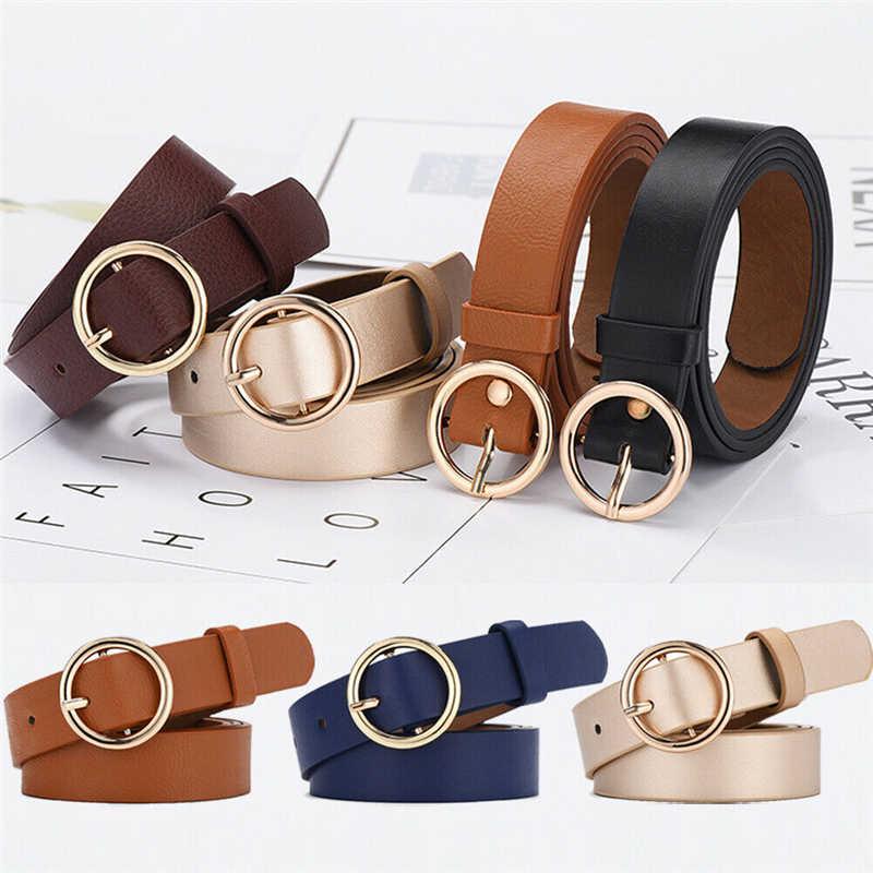 Novo padrão de cintos de couro para as mulheres fivela redonda clássico moda sólida cintura cinto genuíno jean match cintura cinto casual cinta
